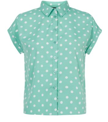 Teens Mint Green Polka Dot Short Sleeve Boxy Shirt