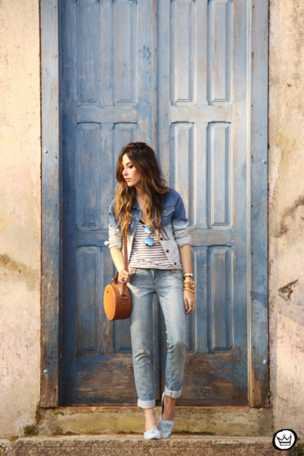 fashion coolture blogger jacket bag jewels ombre denim jacket