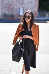 dress,black dress,sunglasses,tumblr,midi dress,black midi dress,off the shoulder,jacket,brown jacket,bag,tote bag,round sunglasses