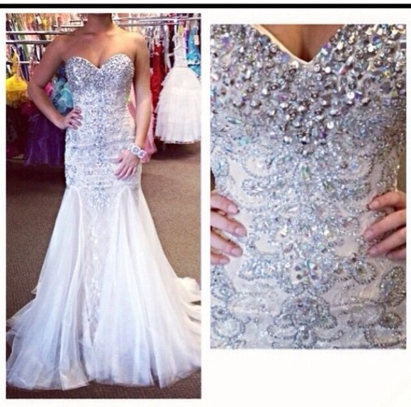 dress prom dress prom long prom dresses whitedress 2014 prom dresses beaded dress mermaid prom dresses