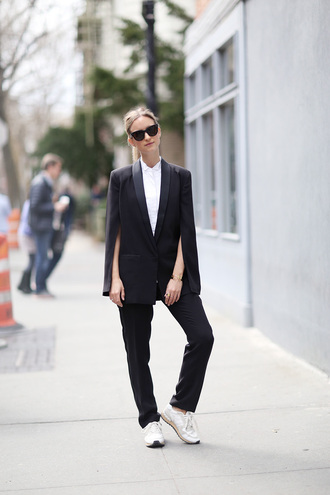the fashion guitar blogger suit tailoring blazer black blazer boyish white shirt coat
