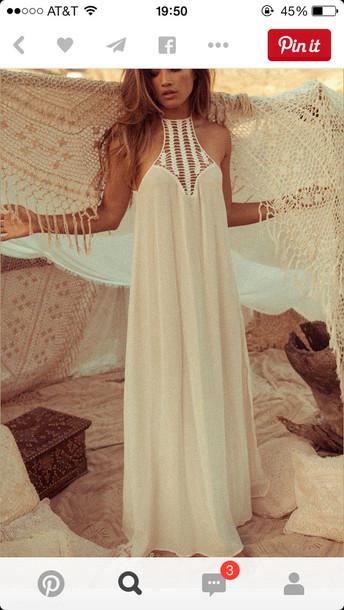 dress bohemian dress boho dress boho boho chic long dress nude dress white hallow\ spliced white dress summer dress