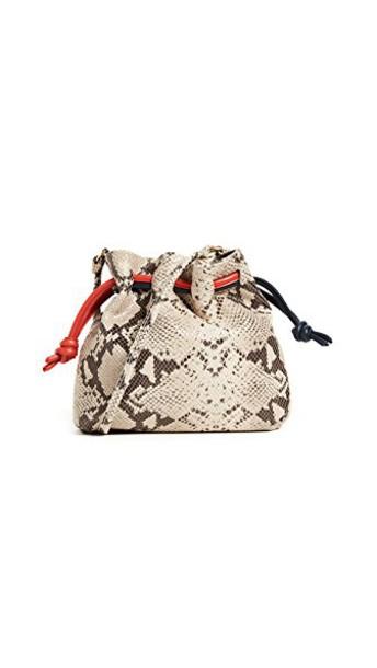 Clare V. drawstring bag snake tan navy red