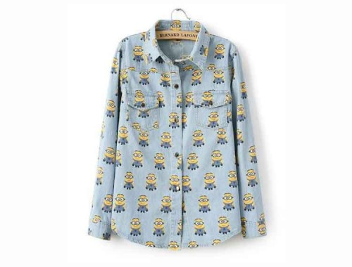 Despicable Me Minions Print Denim Shirt - Bon Bon Boutique