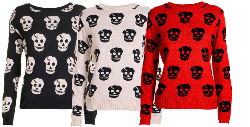 a79489db17f WOMENS SKULL PRINT KNITTED LONG SLEEVE WINTER TOP ...