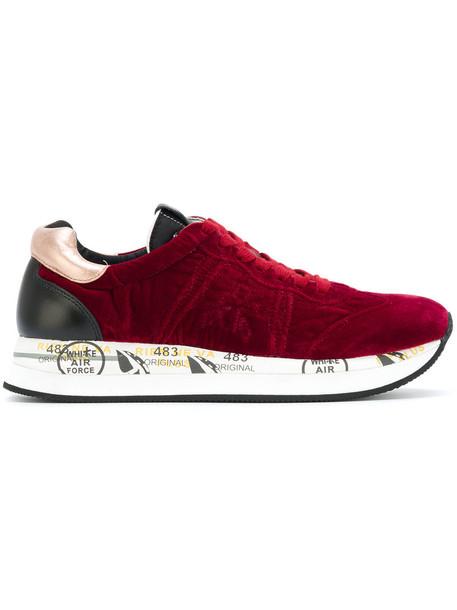 Premiata women sneakers leather velvet red shoes