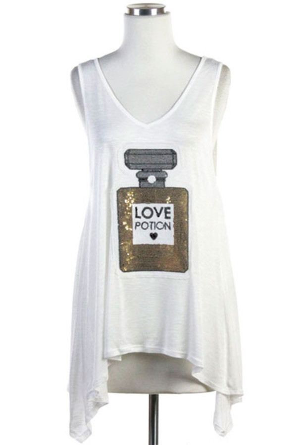 love potion tank top sequins