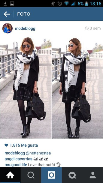scarf scarve scarf black and white cold coldweather big scarf