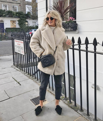 coat tumblr white coat fuzzy coat teddy bear coat denim jeans black jeans shoes mules bag crossbody bag sunglasses