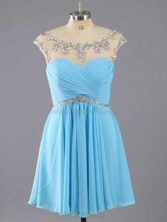 dress a-line scoop neck chiffon short mini ruffle prom dress