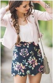 skirt,above the knee skirt,blue skirt,flowers