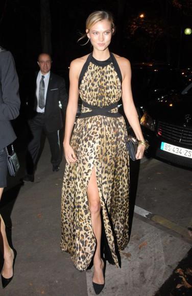 leopard print dress maxi dress fashion week 2014 karlie kloss