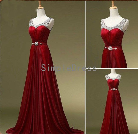 New Arrival A-line Straps Sleeveless Sweep Train Chiffon Fashion Cheap Long Prom Dress / Evening Dress With Beading from Simple Dress on Storenvy