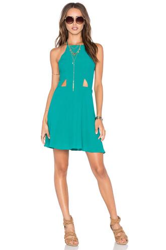 dress halter dress high high neck teal
