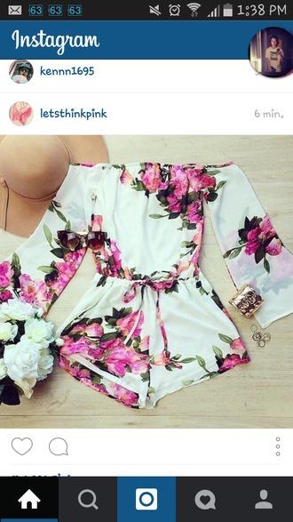 jumpsuit blanc rose fleurs onepeace