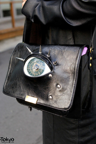 eye bag handbag purse spikes pockey book shoulder bag leather punk metal japan eyeball