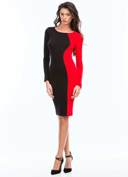 bodycon dress sexy dress two tone color fit dress crew neck dress long sleeve dress sexy