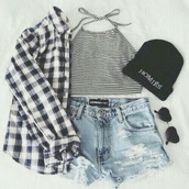 shirt,plaid,sunglasses,heart shaped,stripes,beanie,flannel shirt,denim shorts,crop tops,top,flannel,ripped shorts,striped shirt,clothes,shorts,plaid shirt,fashion