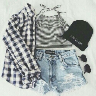 shirt plaid sunglasses heart shaped stripes beanie flannel shirt denim shorts crop tops top flannel ripped shorts striped shirt clothes shorts plaid shirt fashion