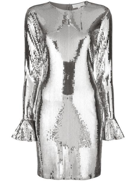 dress ruffle women spandex grey metallic