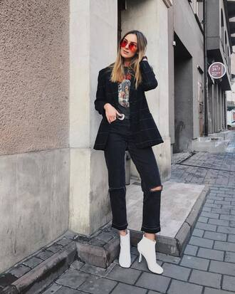 jeans tumblr cropped jeans black jeans ripped jeans boots white boots ankle boots blazer check blazer black blazer sunglasses aviator sunglasses