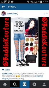 jeans,outfit,outfit idea,baddiekouture_,shirt,instagram,t-shirt,quote on it,ripped jeans,air jordan,earrings,handbag