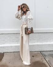 pants,wide-leg pants,high waisted pants,pumps,clutch,lace,white blouse,sunglasses,earrings