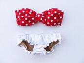 swimwear,bandeau,bandeau bikini,bows,bow bandeau,red,white,polka dots,cute,summer,bikini,retro bikini,pretty,red bathing suit,polka dotted,red and white polkadot