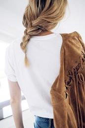 lefashion,blogger,suede jacket,fringed jacket,suede fringe jacket,braid,lace up,white t-shirt
