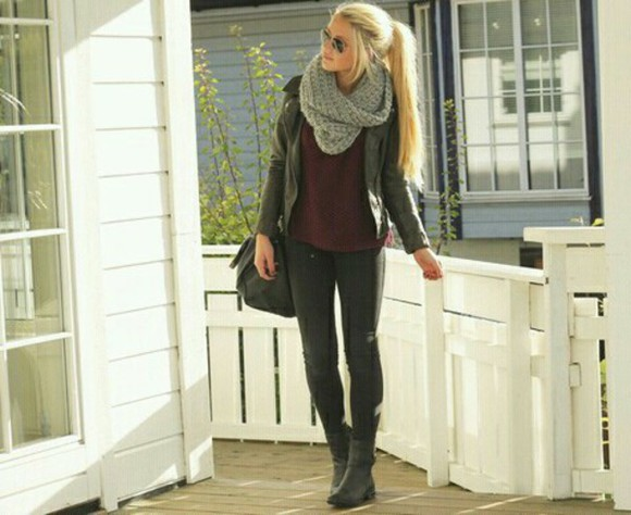 scarf fall outfits helpmefindit! leaves gray blouse