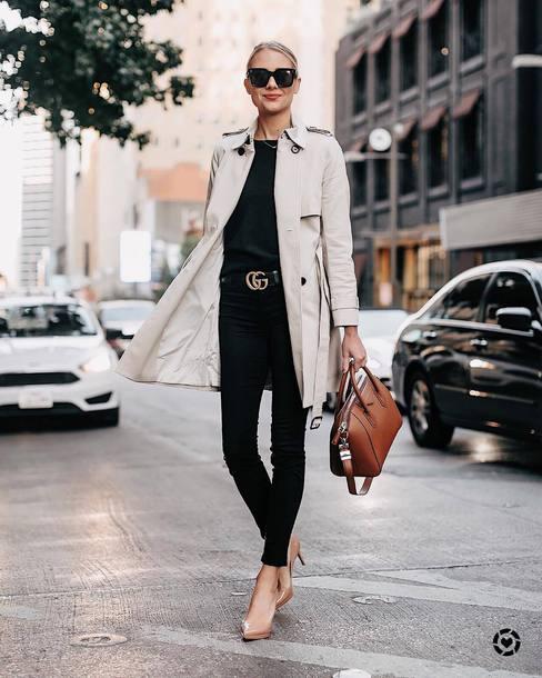 coat trench coat double breasted jeans skinny jeans black jeans belt pumps black t-shirt sunglasses handbag