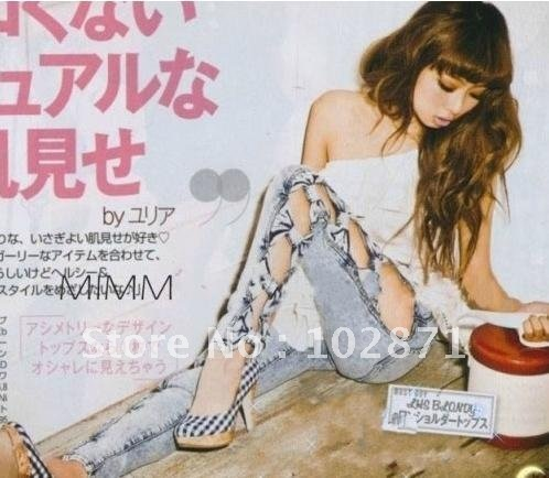 gratis verzending klassieke vintage gedetailleerde vrouw kant boog uitsparing gescheurd denim jeans sexy
