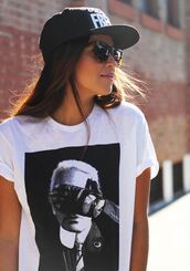 t-shirt,clothes,hat,snapback,shorts,sunglasses,shirt,karl lagerfeld,chanel,chanel white tee,print,hot,gloves,black gloves,graphic tee,printed t-shirt,white t shirt karl lagergeld,white,celebrity,cool,sexy,fashionista,cool shirts,tumblr shirt,rayban,dressy top,peplum,top