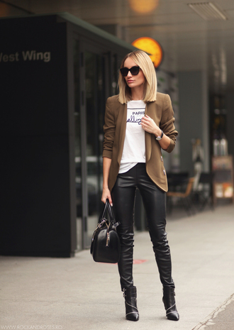 rock and roses blogger jacket t-shirt bag jewels sunglasses tailoring leather bag leather pants black boots camel fall outfits shirt paris white black jeans black and white text print blonde hair