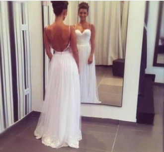 dress back less white beautiful elegant low back evening gown