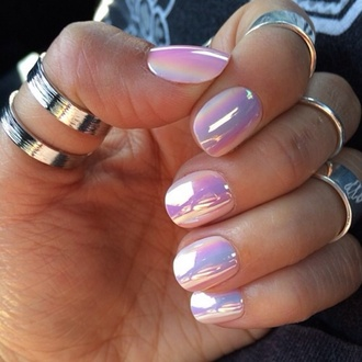 silver ring knuckle ring nail polish holographic lilac metallic nails metallic pastel pink iridescent nail accessories