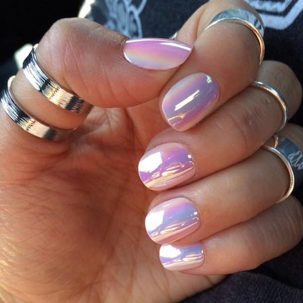 foil purple glitter nail polish finger nails pink nails nails polish