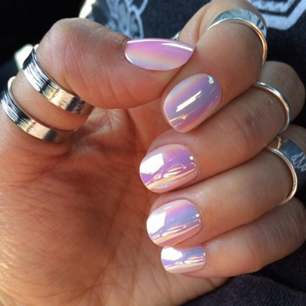 silver ring knuckle ring nail polish holographic lilac metallic nails metallic pastel pink iridescent nail accessories glass nails