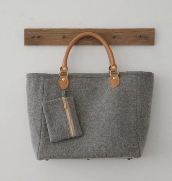 bag grey handbag grey handbag grey bag wool bag felt bag laptop bag