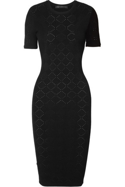 VERSACE dress jacquard black knit
