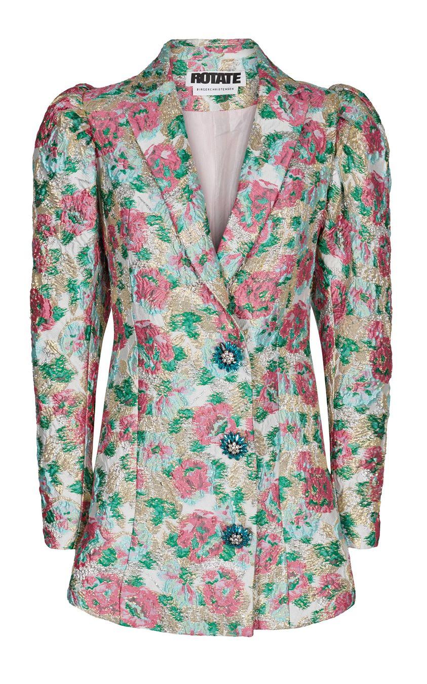 ROTATE Carol Button-Embellished Floral-Jacquard Mini Dress Size: 34