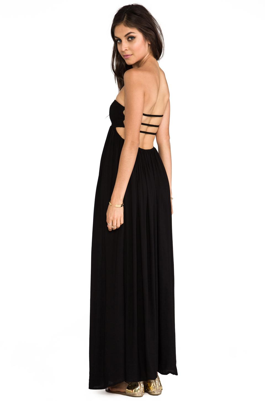 Indah flamingo smocked bandeau cutaway maxi dress in black