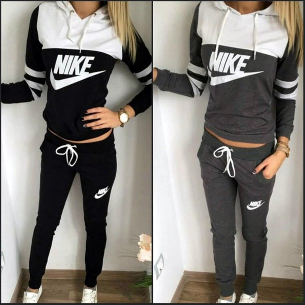 the latest a7474 bde0b jumpsuit nike women nike logo nike tick nike sportswear nike sport suit nike  tracksuit black grey