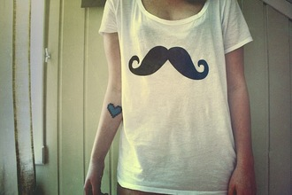 t-shirt moustache hipster white swag yolo