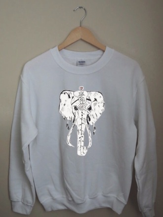 elephant crewneck sweater too top dope sassy whitecotton night sleep aztec etsy style white t-shirt bag tribal pattern diamonds brandy melville
