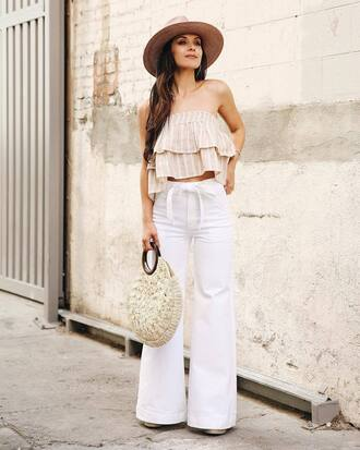 top tumblr nude top stripes striped top pants wide-leg pants white pants bag round tote tote bag felt hat hat
