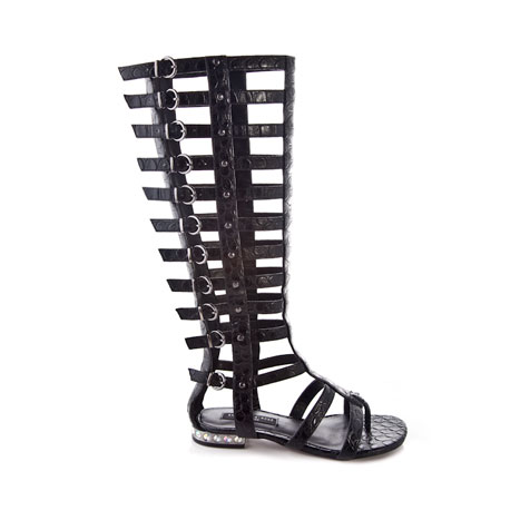 Ivy - Bold Black Knee High Gladiator Sandal With Jewelled Heel | Annabella-Rose England Footwear