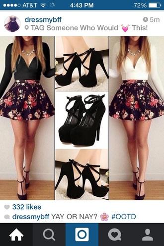 dress black high heel shoes v neck dress floral dress floral skirt black heels shoes