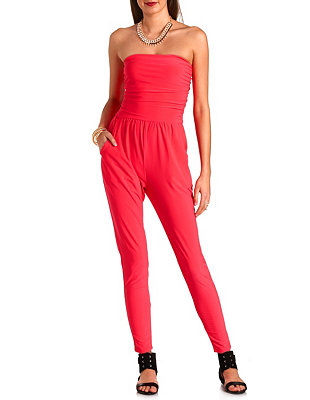 Ruched skinny strapless jumpsuit: charlotte russe