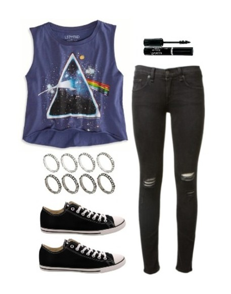 triangle t-shirt blue shirt galaxy shirt rainbow